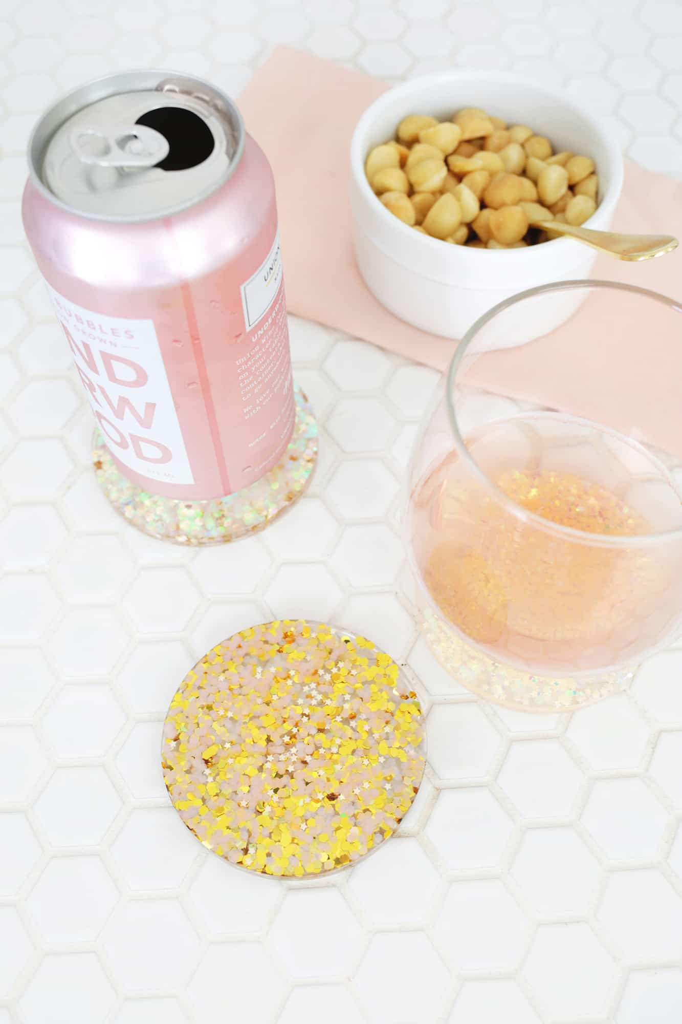 Acrylic Glitter Coaster DIY