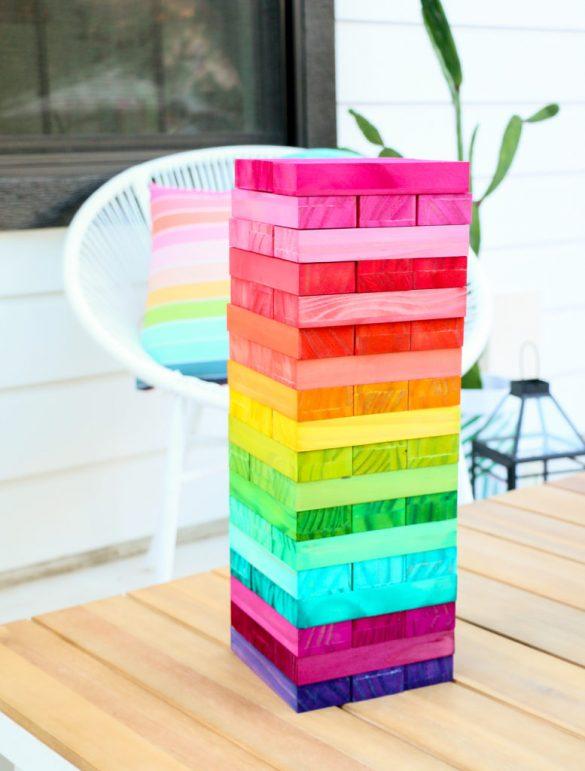 DIY Rainbow Wood Stacking Game