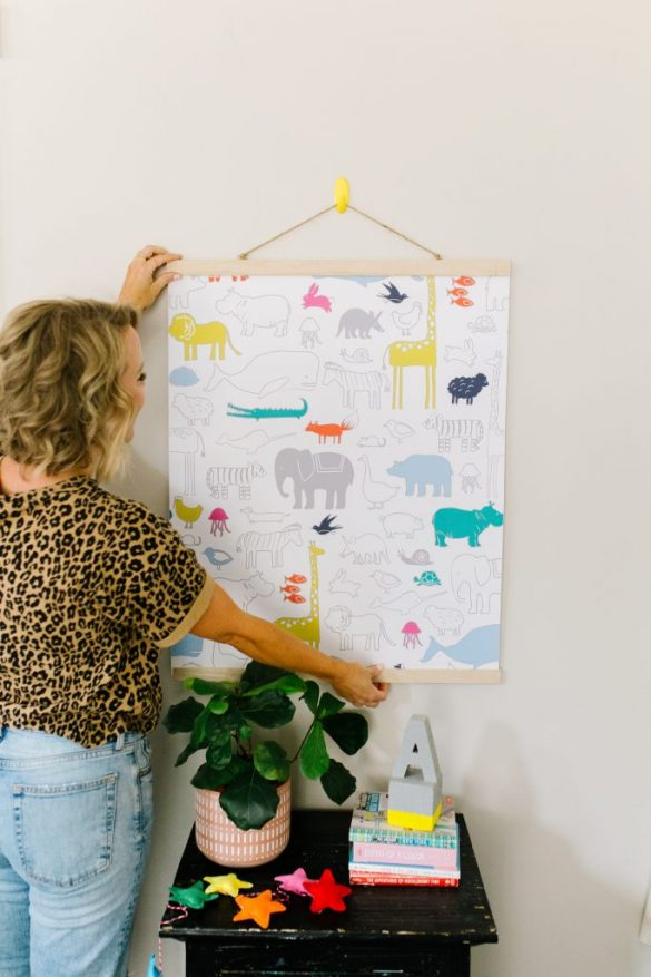 How to Make a DIY Nursery Wall Hanging Using Removable Wallpaper!