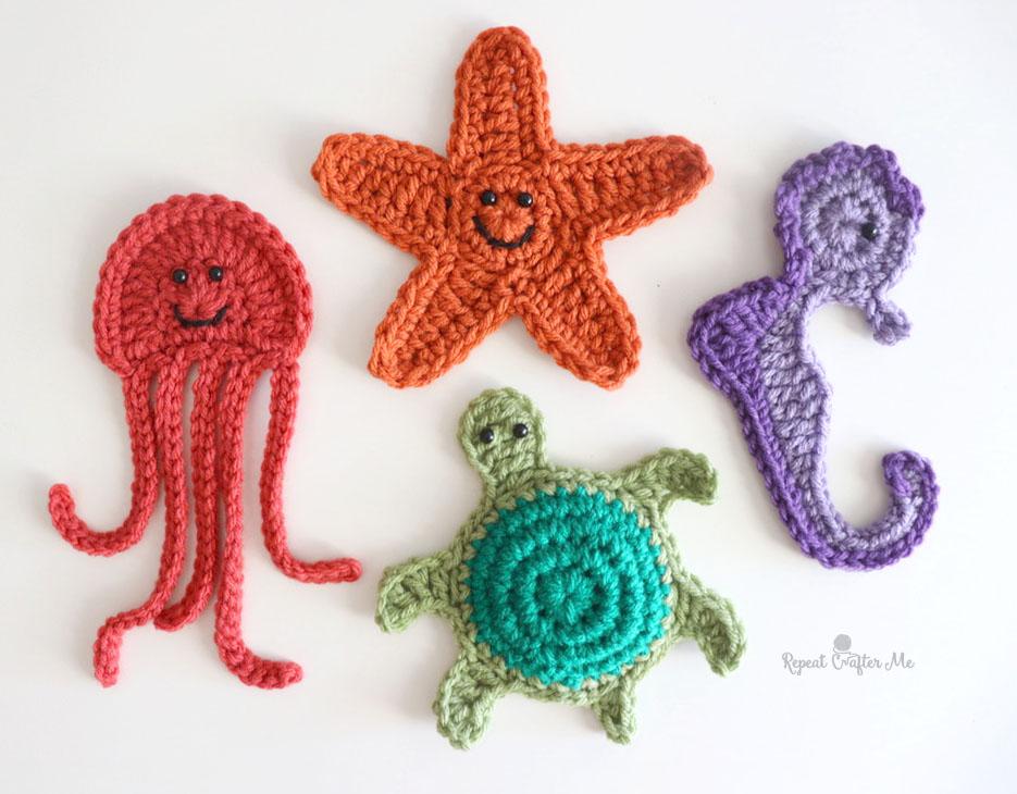 Ocean Friends Crochet Appliqués: Starfish, Jellyfish, Turtle, and Seahorse