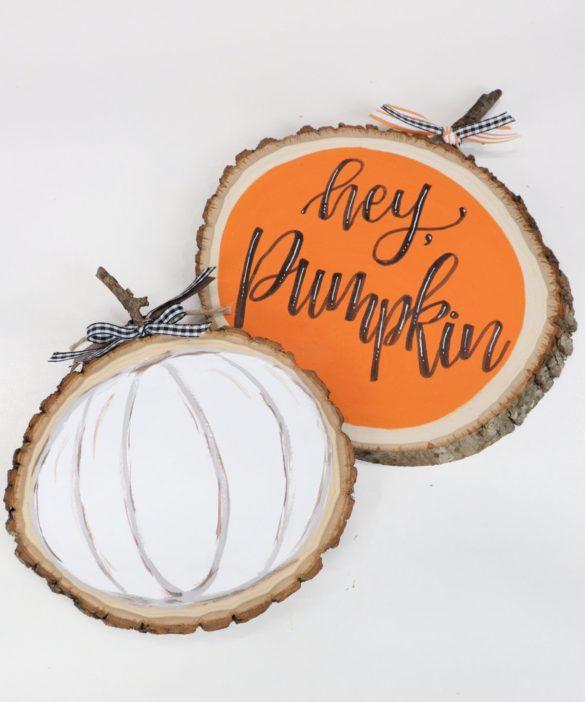Farmhouse Style Wood Slice Pumpkin