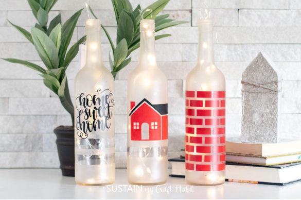 3 Faux Bottle Painting Ideas with Cricut