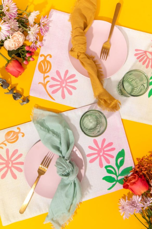 Modern Dip-Dyed Floral Placemats