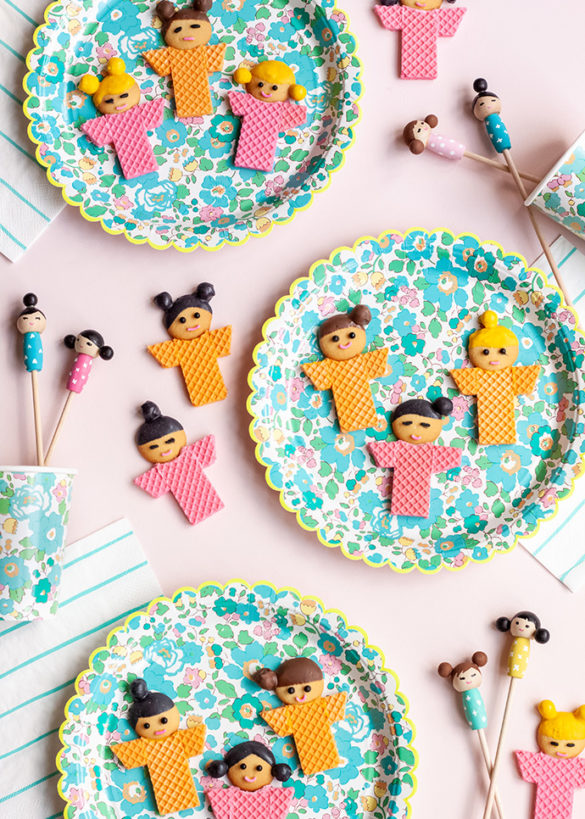 No-Bake Kokeshi Doll Inspired Cookies