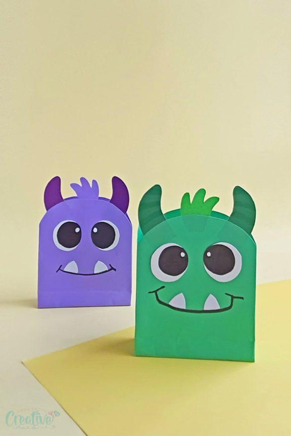 Cute monster HALLOWEEN PAPER BAGS for kids