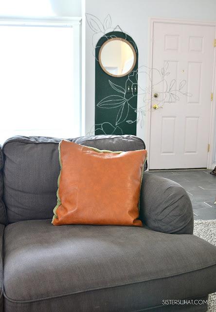 DIY Pillow Blanket - Faux Leather Pillow