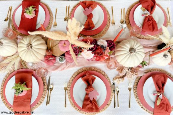 Pink Boho Fall Table Setting