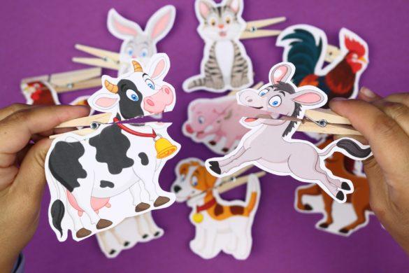PRINTABLE FARM ANIMAL CLOTHESPIN PUPPETS