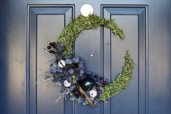 DOLLAR STORE WITCHY CRESCENT MOON WREATH