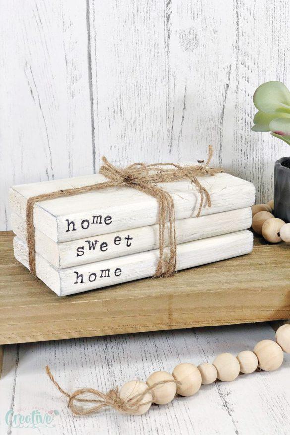 Farmhouse book stack DIY home decor