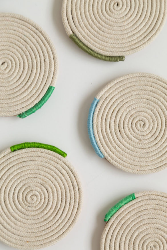 DIY Wrapped Rope Coasters