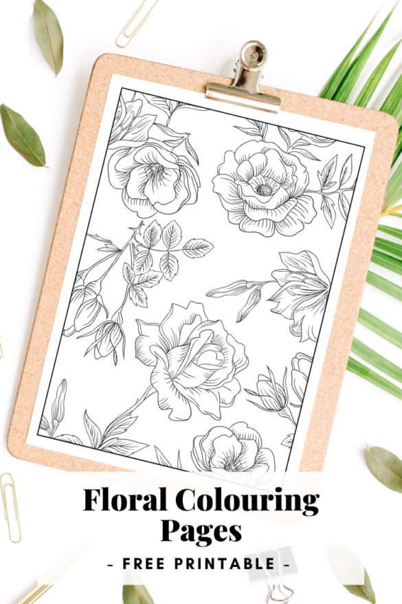 FREE FLORAL COLOURING PAGES.