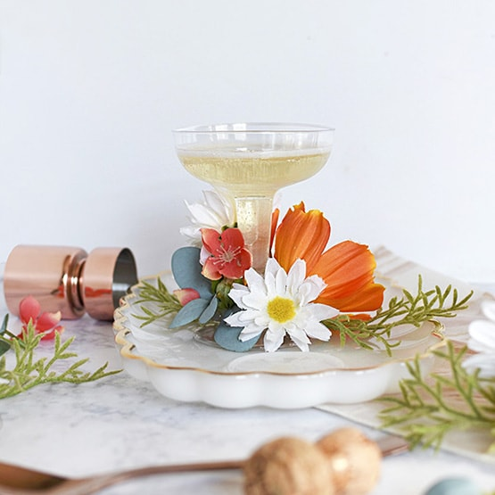 Floral Champagne Saucer Glasses