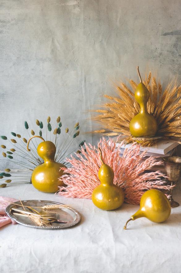 DIY Dried Flower Turkey Gourds