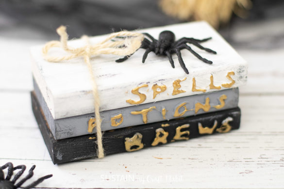 Making Stacked Books Decor for Halloween