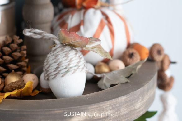 Upcycled Plastic Egg Acorn Ornament Craft