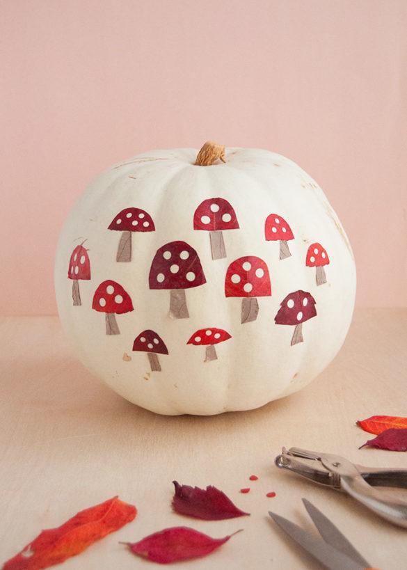 Mushroom Leaf Art Pumpkin
