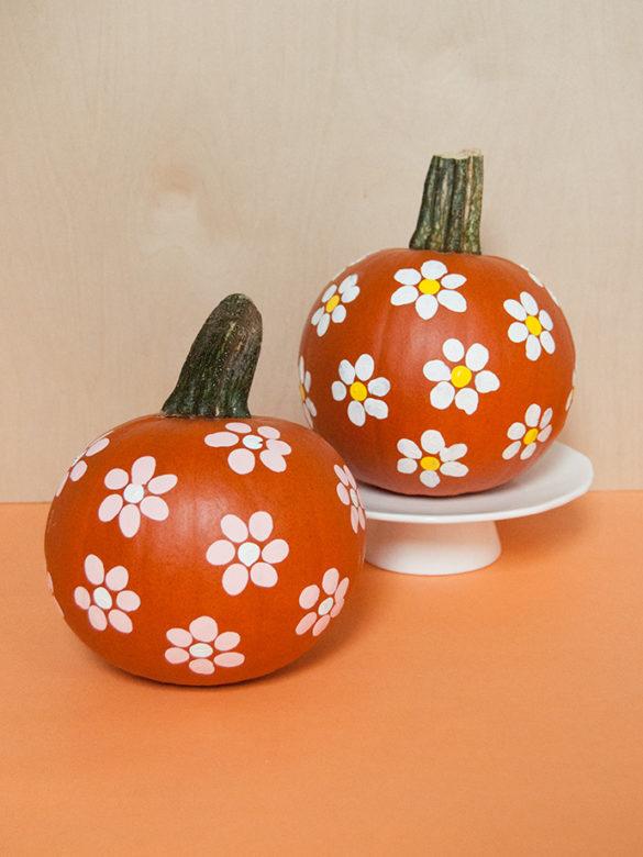Fingerprint Art Floral Pumpkins